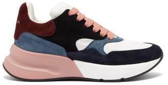Alexander McQueen Panelled Chunky Suede Trainers - Mens - Pink Multi
