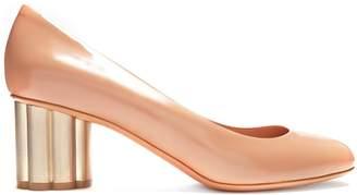 Salvatore Ferragamo Lucca column-heel patent-leather pumps
