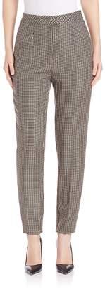 Escada Women's Slim Checkered Pants - Black Brown, Size 32 (10-12)