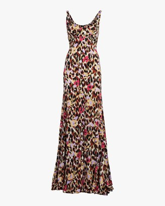 Roberto Cavalli Ikat Leopard Print Satin Dress