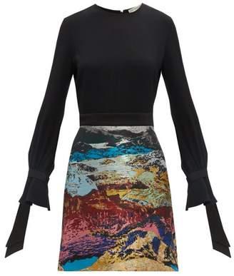 Mary Katrantzou Ligretto Landscape Jacquard Dress - Womens - Blue Multi