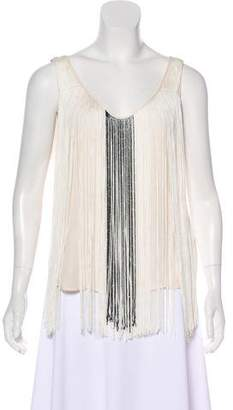Haute Hippie Sleeveless Fringe Top