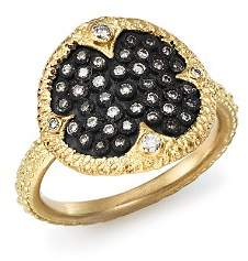 Armenta Blackened Sterling Silver & 18K Yellow Gold Old World Pavé Champagne Diamond Disc Ring