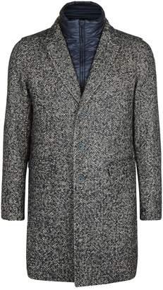 Herno Herringbone Overcoat with Puffer Insert