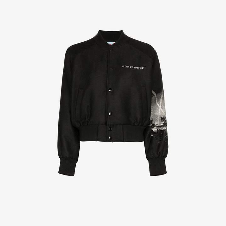 Adaptation LA print wool blend bomber jacket