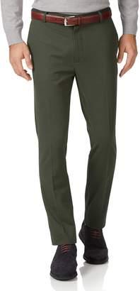 Charles Tyrwhitt Dark Green Extra Slim Fit Flat Front Non-Iron Cotton Chino Pants Size W30 L30