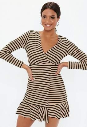Missguided Camel Long Sleeve Wrap Asymmetric Hem Dress