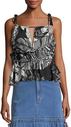 See by Chloe Sleeveless Palm-Print Ruffled Cotton Blouse