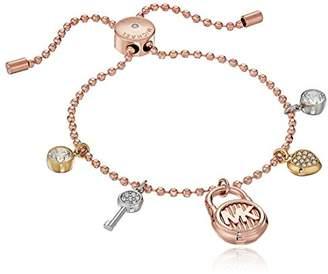 Michael Kors Tri-Tone Steel Padlock Slider Bracelet