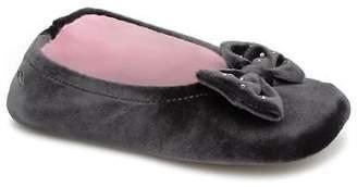 Isotoner Kids's Ballerine Velours Grand Nœud Strass Kids Slippers in Grey