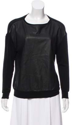 Alice + Olivia Long Sleeve Leather Top