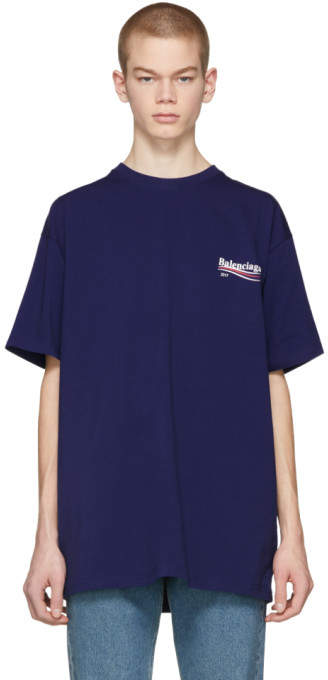 Balenciaga Blue Campaign Logo T-Shirt