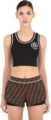 Fendi Logo Printed Lycra Crop Top