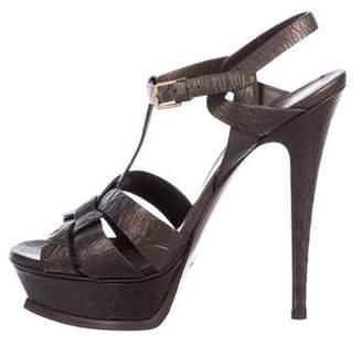 Saint Laurent Embossed Tribute Platform Sandals