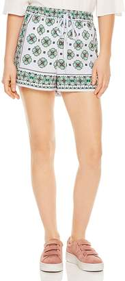 Sandro Ivy Mosaic-Print Mini Shorts