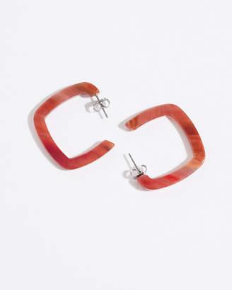 Jigsaw Coral Resin Square Hoop Earrings