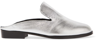 Robert Clergerie - Alicel Metallic Leather Slippers - Silver $495 thestylecure.com