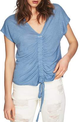 1 STATE 1.STATE Ruched Drawstring Linen Top