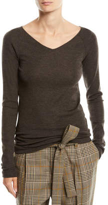Brunello Cucinelli V-Neck Long-Sleeve Wool Jersey Sweater w/ Monili Trim