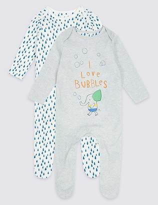 Marks and Spencer 2 Pack Printed Pure Cotton Sleepsuits