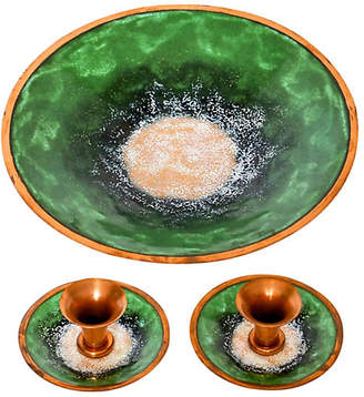 One Kings Lane Vintage Enameled Copper Bowl & Candle Holders - Janney's Collection