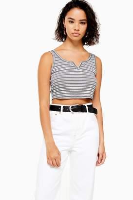 2764b0d8e Topshop Womens Petite Stripe Notch Vest - White