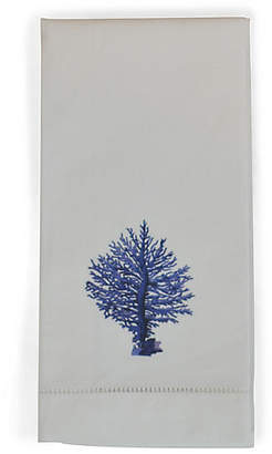 Set of 2 Blue Coral Guest Towels - White/Blue - The French Bee