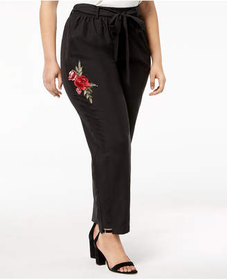 NY Collection Plus Size Embroidered Pants
