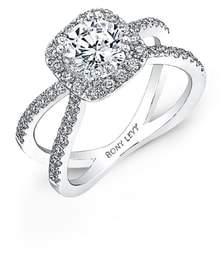 Bony Levy Pave Diamond Split Shank Round Engagement Ring Setting