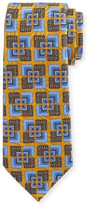 Ermenegildo Zegna Geometric Psychedelic Silk Tie, Yellow $195 thestylecure.com
