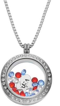 "Swarovski Blue La Rue Crystal Stainless Steel 1-in. Round Star & ""USA"" Charm Locket - Made with Crystals"