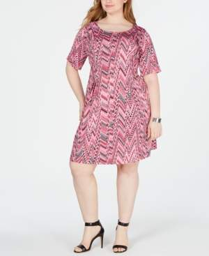 NY Collection Plus and Petite Plus Size Printed Pleated Dress