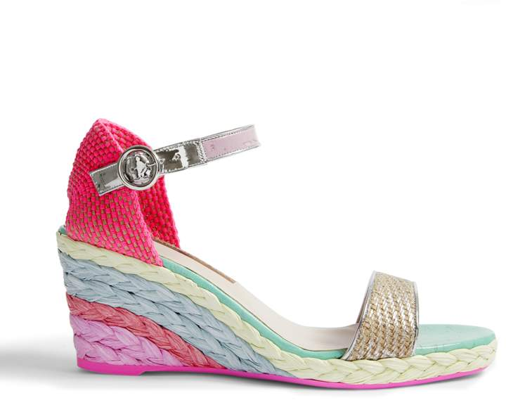 Sophia Webster Lucita Mid Espadrilles in Fluoro Metallic Jute and Canvas