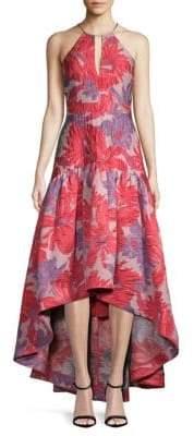 Badgley Mischka Floral Hi-Lo Halterneck Dress
