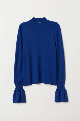 H&M Flounce-sleeved Sweater - Blue