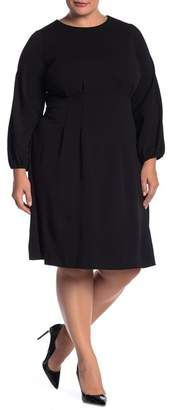 London Times Long Sleeve Tuck Waist Dress (Plus Size)