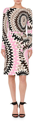 Emilio Pucci Marilyn Printed Long-Sleeve Boat-Neck Dress, Multi $1,370 thestylecure.com