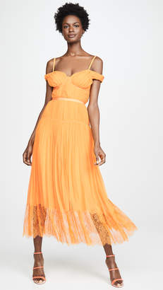 Self-Portrait Self Portrait Orange Off Shoulder Pleated Chiffon Dress