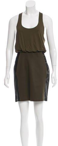 Alice + OliviaAlice + Olivia Leather-Accented Colorblock Dress