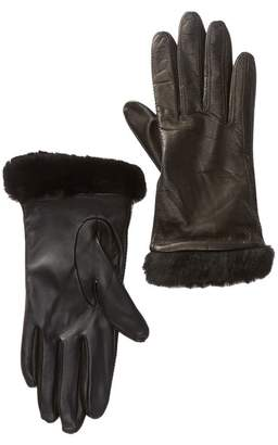 UGG Classic Leather & Genuine Shearling Smart Gloves