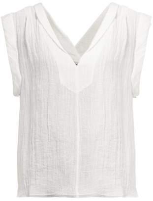 Three Graces London Isoletta Deep V Neck Cotton Blend Top - Womens - White