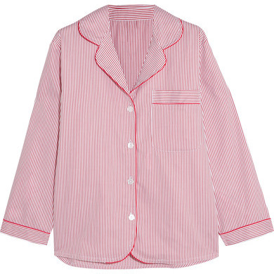 BodasBodas - Verbier Striped Swiss Cotton Pajama Shirt - Red