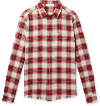 Frame Distressed Checked Cotton-Flannel Shirt - Men - Red