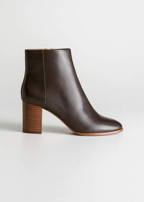 And other stories O-Ring Zipper Leather Ankle Boots