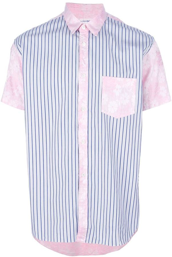 Comme des Garcons floral and stripe print short sleeve shirt