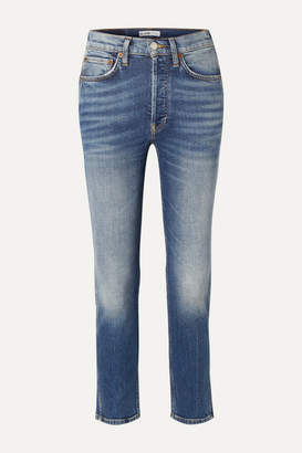 RE/DONE Comfort Stretch 50s Cigarette Cropped High-rise Straight-leg Jeans - Mid denim