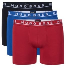 HUGO BOSS Cotton Boxer Briefs, 3-Pack Brief 3P CO/EL M Patterned