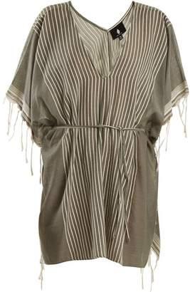 Su - Kya Deep V Neck Striped Cotton Kaftan - Womens - Khaki Multi