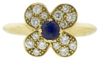 Van Cleef & Arpels 18k Yellow Gold Diamond Cabochon Sapphire Flower Ring