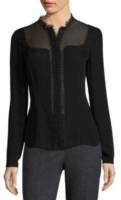 Elie Tahari Coretta Sheer Insert Silk Blouse $268 thestylecure.com